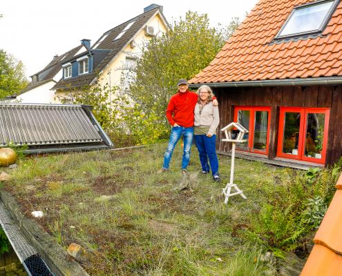 Ein kleines Flachdach kann man auch selbst begrünen.